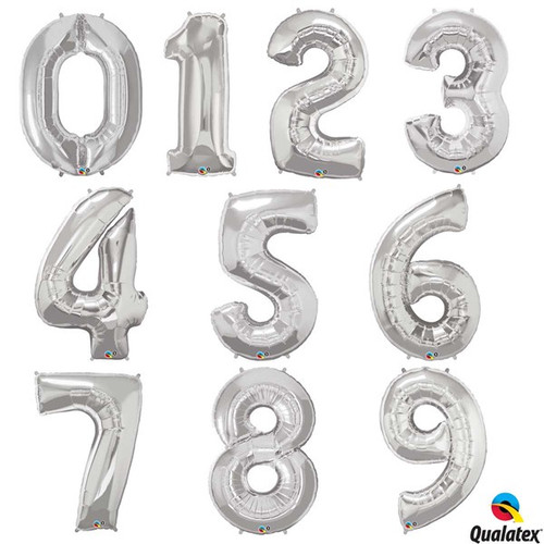 Silver Foil Number Balloon - Individual Numbers 0-9 at The Costume Shoppe