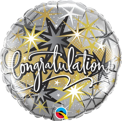 Silver and Gold Congratulations Balloon 18 Inch at The Costume Shoppe