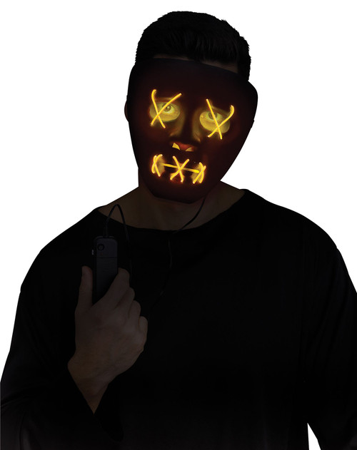 Black and Yellow Light-Up LED Mask - At The Costume Shoppe