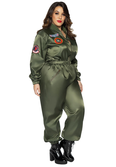 Plus Top Gun Parachute Flight Suit - At The Costume Shoppe