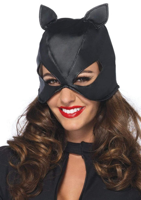Adult Leather Bodage Cat Maskat the costume shoppe