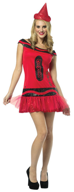 Adult Crayola Glitter Crayon Costume - Red