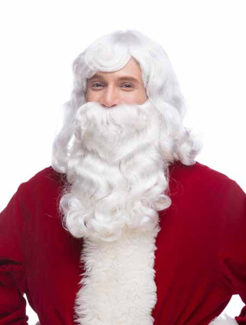 Deluxe Pure White Santa Wig and Beard Set