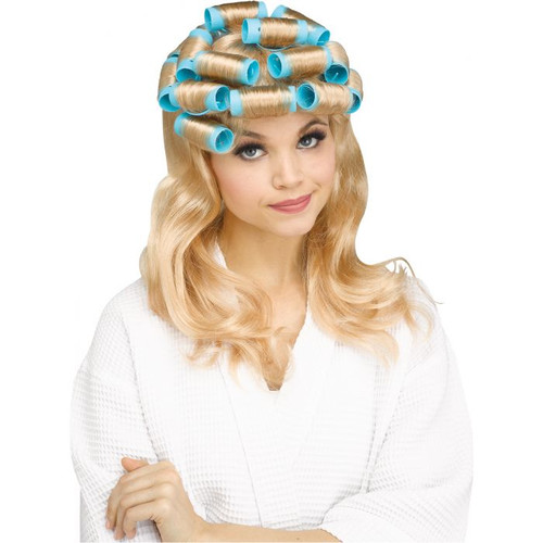50s Housewife Blonde Wig With Rollers - At The Costume Shoppe