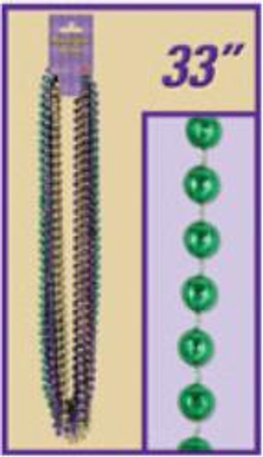 Mardi Gras Party Beads 12/Card