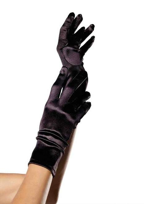 Wrist Satin Black Gloves
