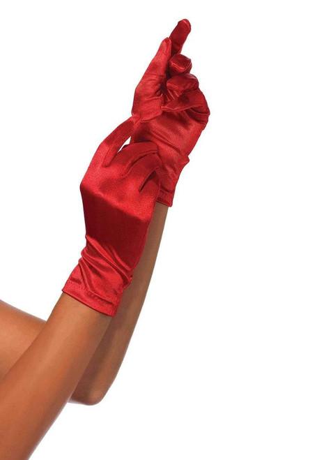 Wrist Satin Red Gloves