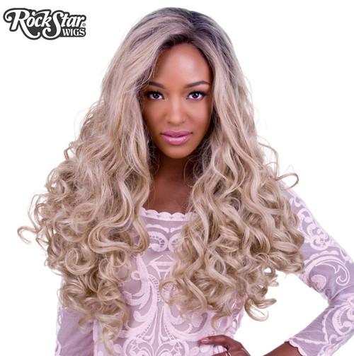 Rockstar Wigs - Lace Front Curly Dark Roots - Light Medium Blonde Mix