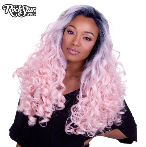 Rockstar Wigs - Lace Front Curly Dark Roots - Powder Pink