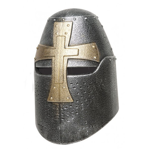 Knight Bucket Helmet with Gold Cross