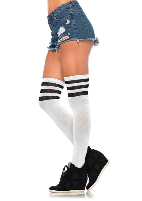 White/black Stripe Athletic Thigh Highs