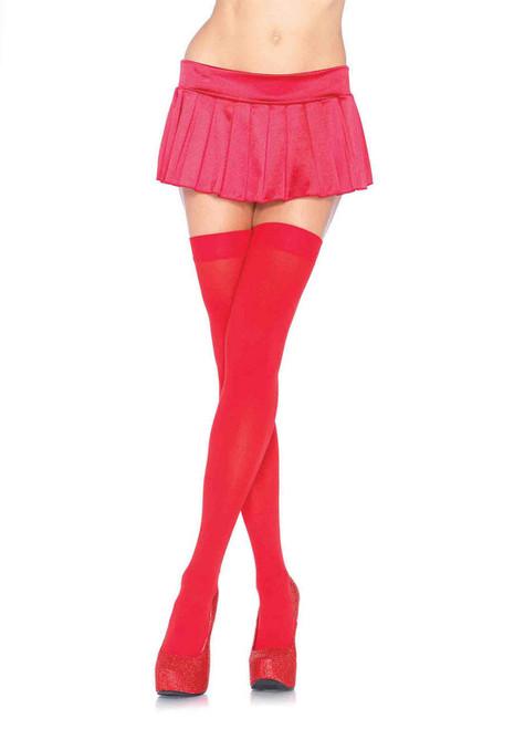 Nylon Thigh High- Red