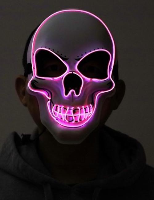 Pink Skull Neon Light Up Purge Mask