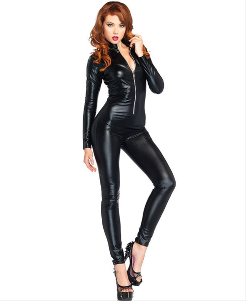 Sexy Zipper Catsuit Ladies Halloween Costume