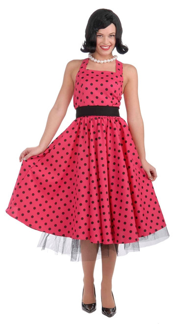 Pretty in Pink 50s Polka Dot Costume Dress