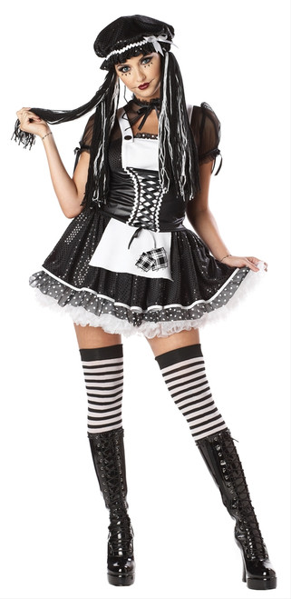 Dreadful Doll Goth Ragdoll Ladies Costume
