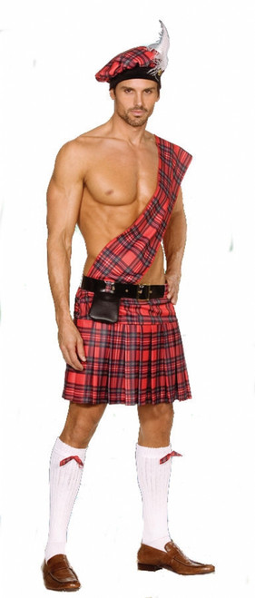 Men's Red Tartan Scottish Kilt Costume