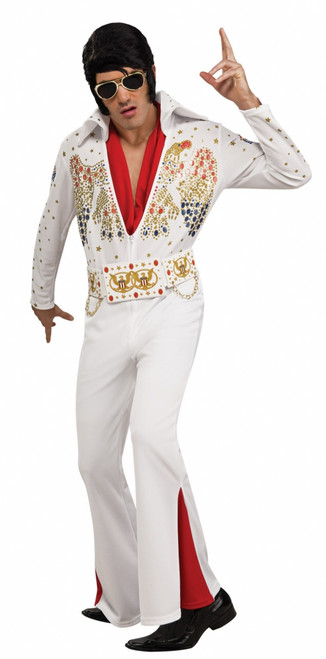 Elvis Mens Classic White Jumpsuit Costume