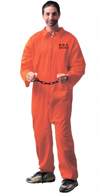 Men's Plus Prisoner Orange Halloween Jumpsuit