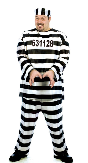 Men's Jailbird Plus Size Convict Costume