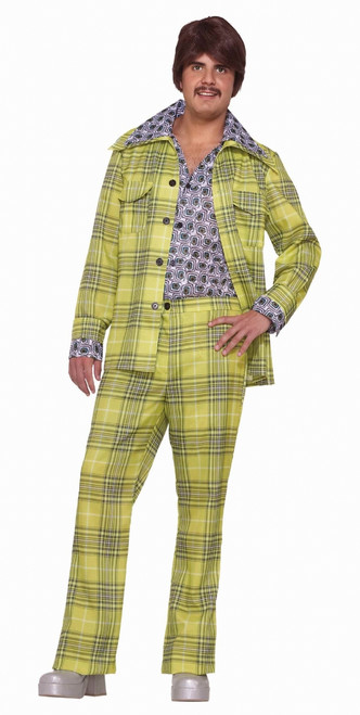 Lime Green Men's Plaid Leisure Suit Costume