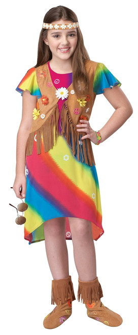 60s/70s Children's Groovy Flower-Girl Hippie Costume