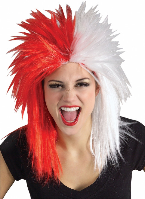 Red and White Canadain Sports Fanatic Wig