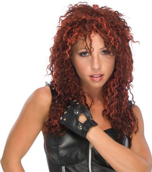 U Rock Red Crimped Rocker Wig