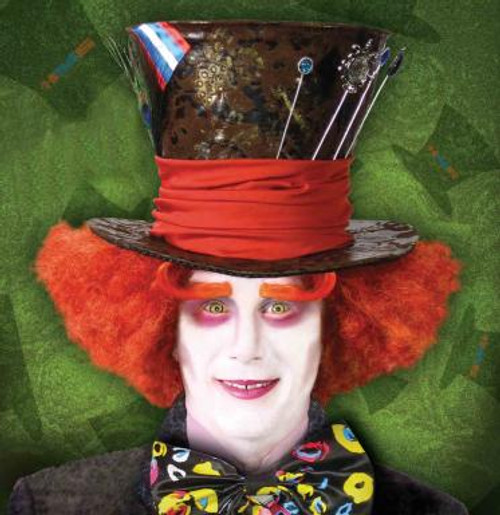 Red Curly Alice in Wonderland Mad Hatter Wig