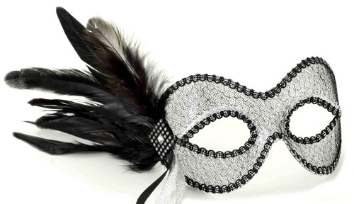 Black & Silver Mesh Mask with Side Feathers