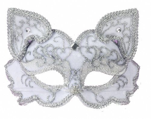 Elegant White Cat Half Masquerade Mask