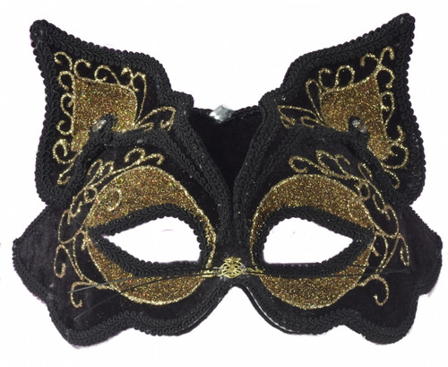 Black and Gold Half Face Cat Mask