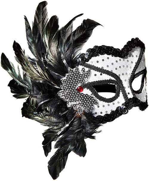 Black Feathered Titan God Masquerade Mask