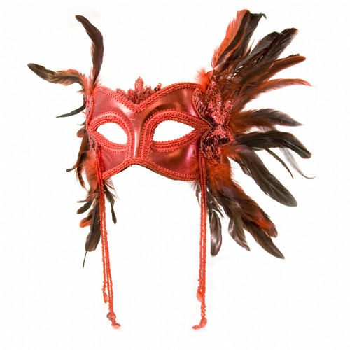 Red Feather Flapper Mask - Roaring 20s