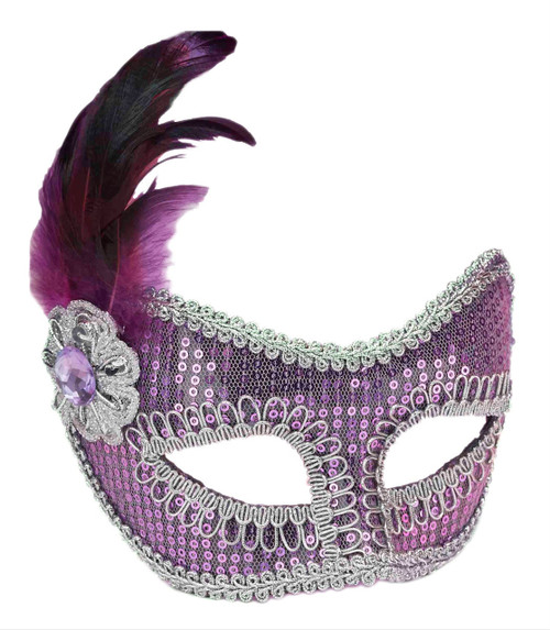 Purple Sequin Fashion Masquerade Mask