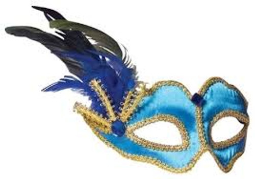 Blue Side Plume Italian Mask