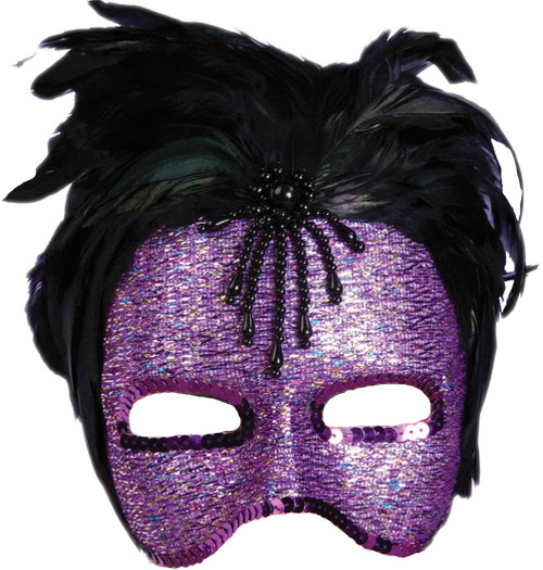 Purple Feather Sequin Mask