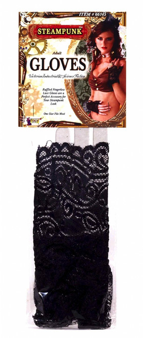 Fingerless Black Lace Steampunk Gloves
