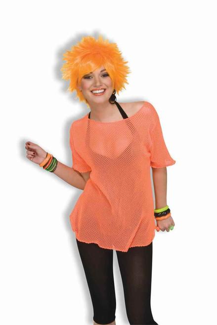 Neon Orange 80s mesh top