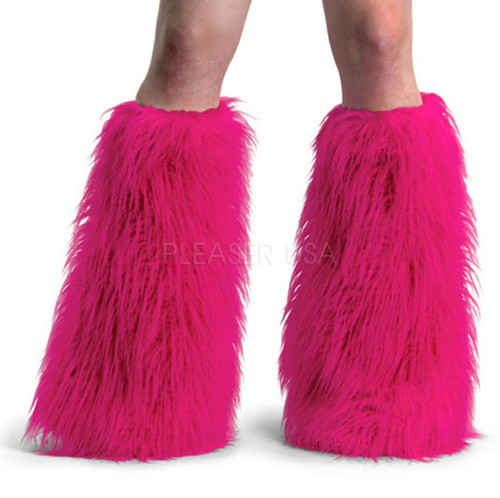 Hot Pink Yeti Furry Leg Warmers