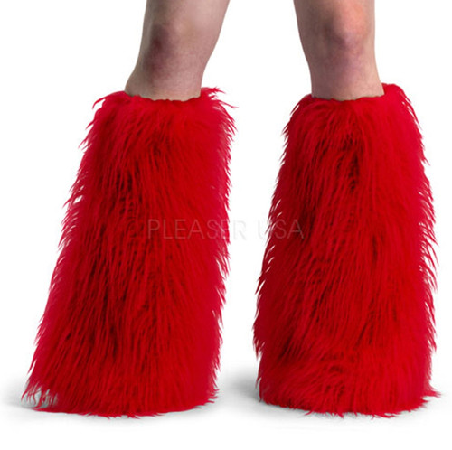 Red Yeti Fur Leg Warmers