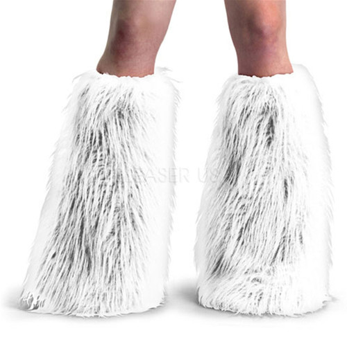 White Yeti Fur Leg Warmers