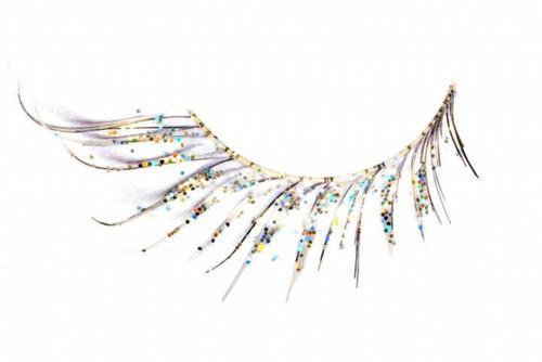 White Feather Eyelashes with Glitter