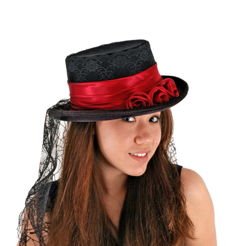 Gothic Rose Victorian Costume Top Hat