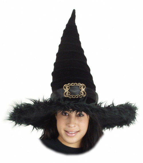 Ridged Witch Costume Hat with Faux Fur