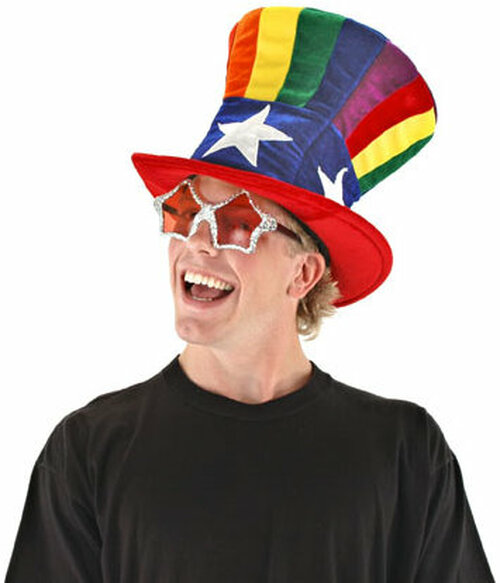 Rainbow And White Star Top Hat