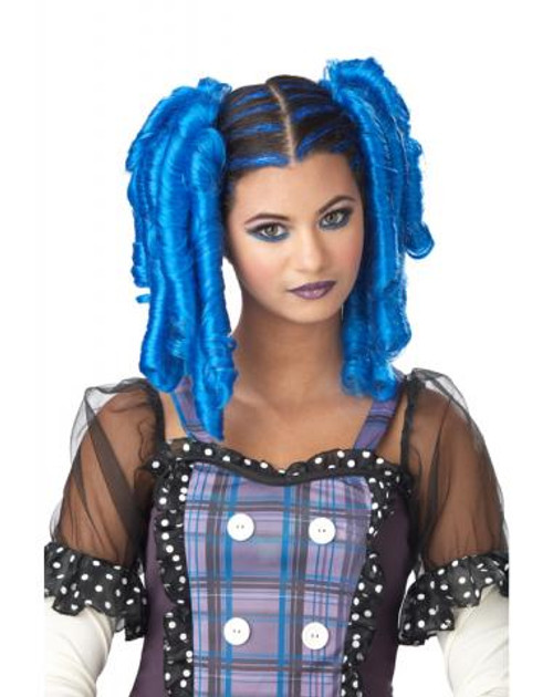 Blue Anime Curls with Mascara