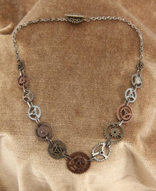 Steampunk Chain Gear Necklace