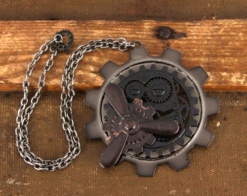 Gear Propeller Steampunk Necklace