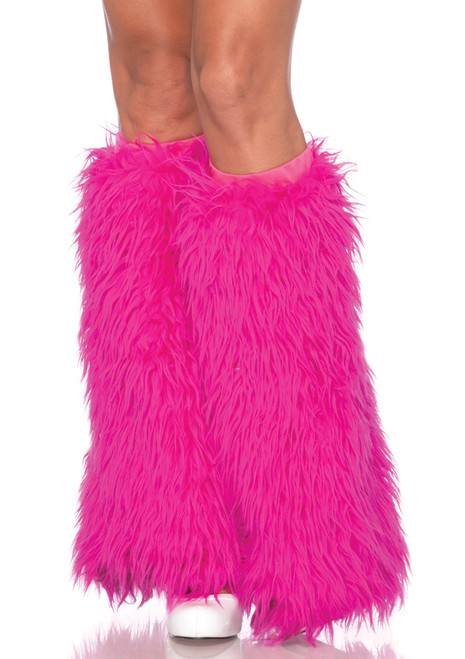 Neon Pink Fuzzy Boot Covers